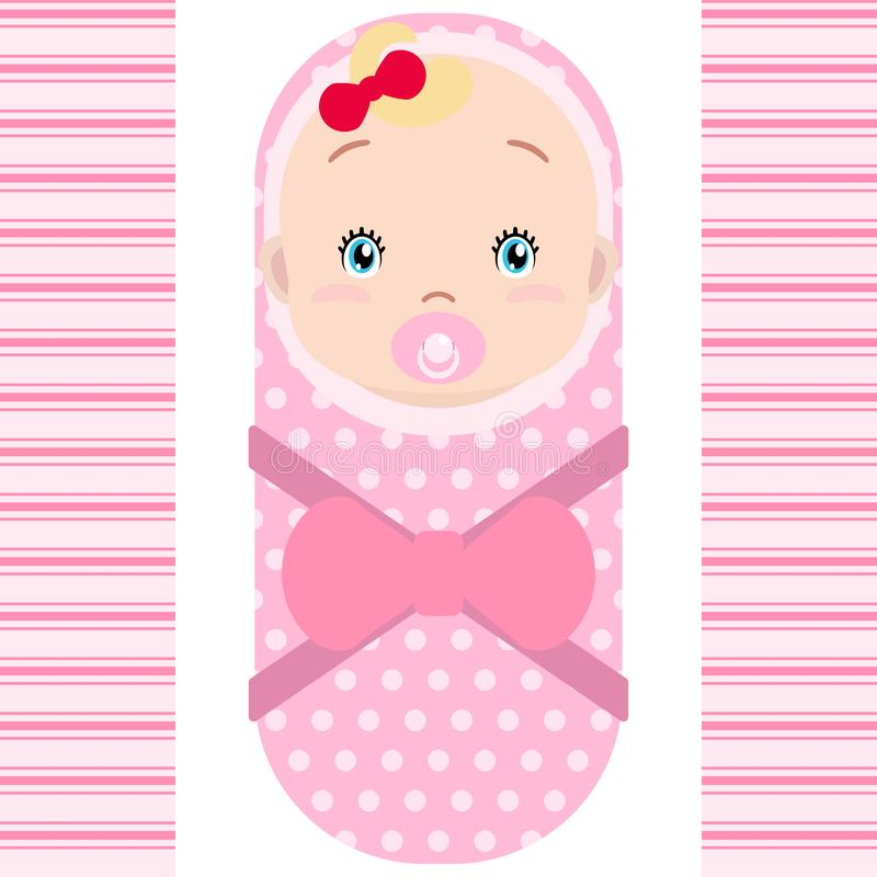 Smiling caucasian baby girl with pacifier  on white background. Vector cartoon mascot. Holiday illustration to Birthday, vector illustration