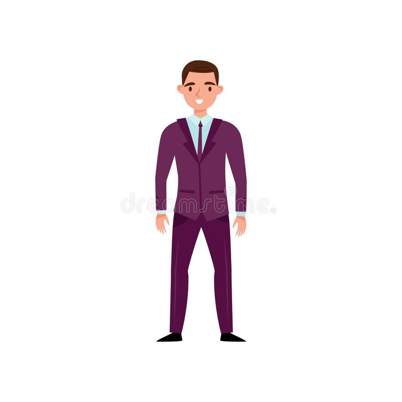 Smiling man in classic purple suit standing isolated on white background. Young guy in formal clothes. Flat vector vector illustration