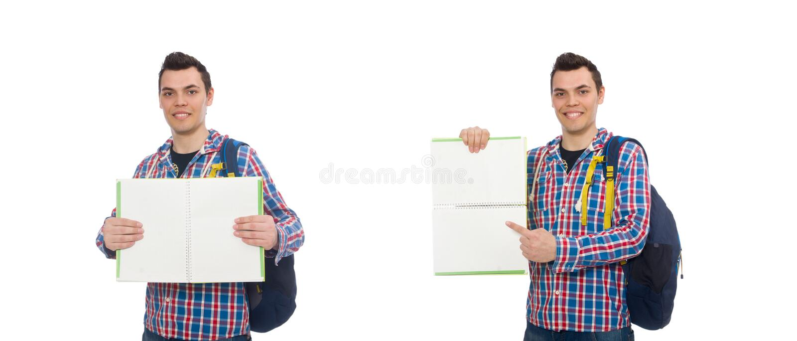 The smiling caucasian student with backpack and book isolated on white. Smiling caucasian student with backpack and book isolated on white stock photos