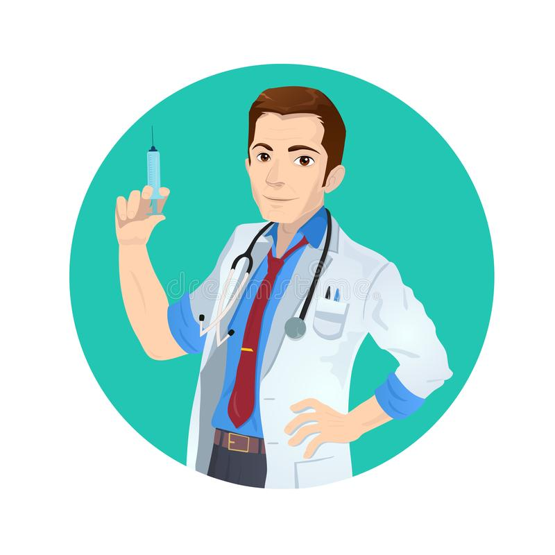 Smiling caucasian white doctor holding a medical injection syringe with vaccine. Round layout royalty free illustration
