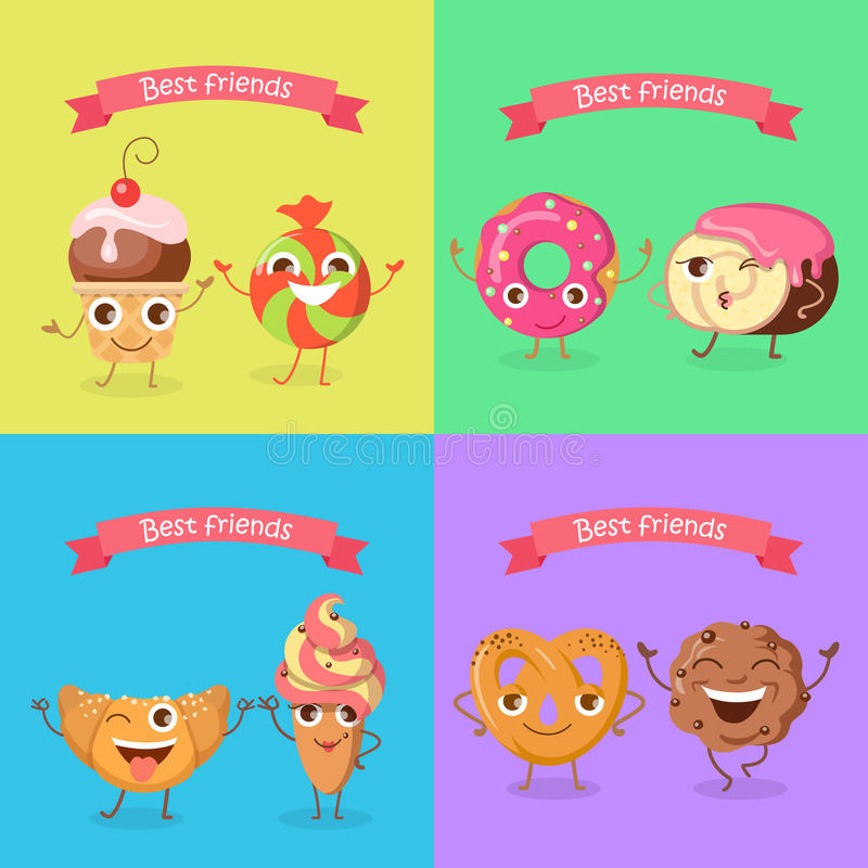 Smiling Characters. Set of Funny Sweets Flat Design. royalty free illustration