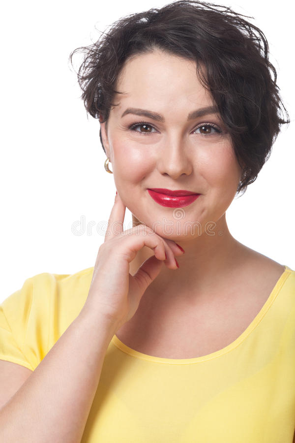 Smiling charming woman. On isolated white stock photos