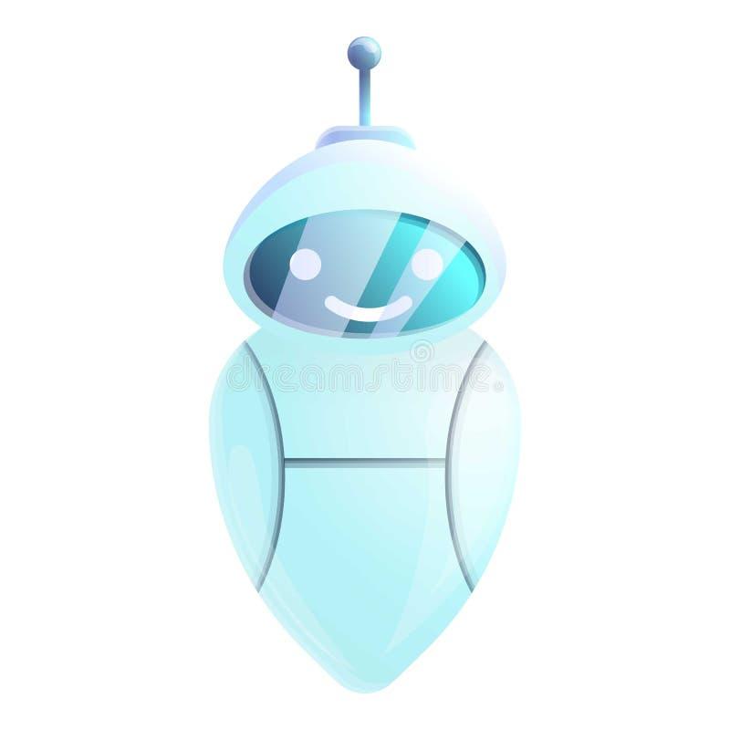 Smiling chatbot icon, cartoon style royalty free illustration