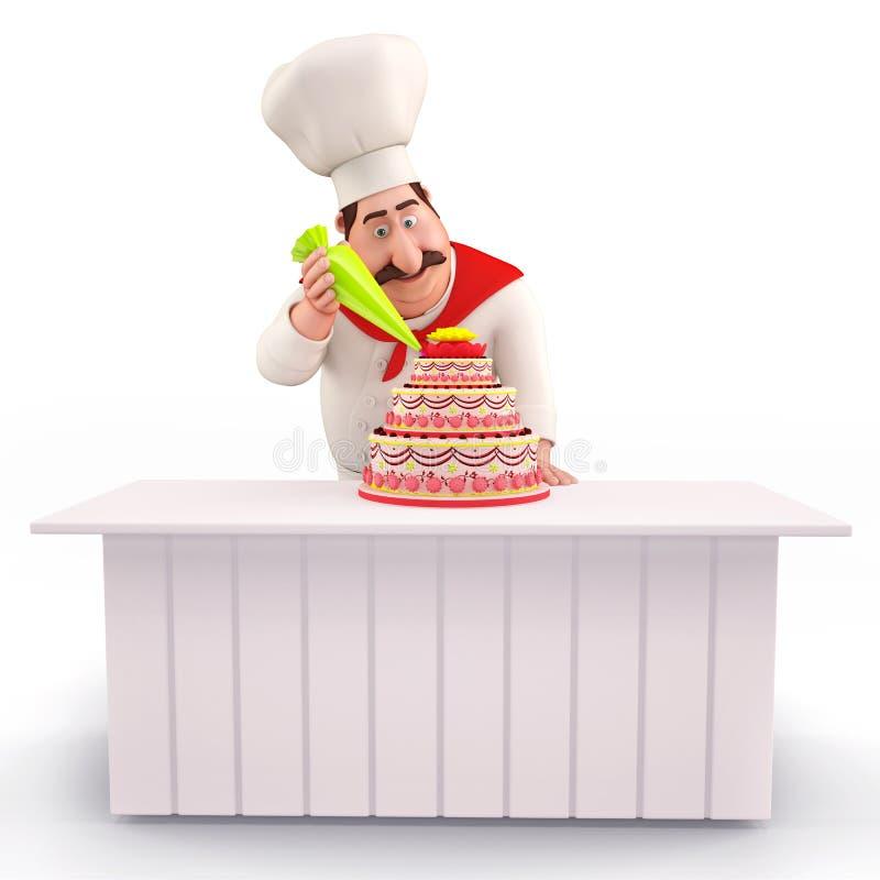 Smiling Chef decorating cake