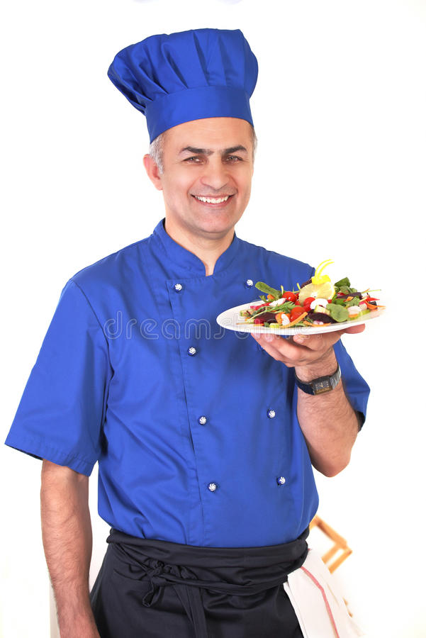 Download Smiling chef with dish stock image. Image of cute, meal - 26331179