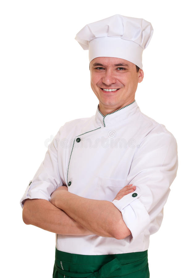Smiling chef man in uniform royalty free stock images