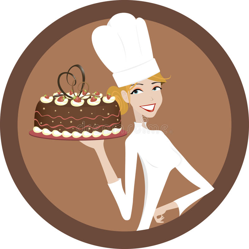 Smiling chef woman stock illustration