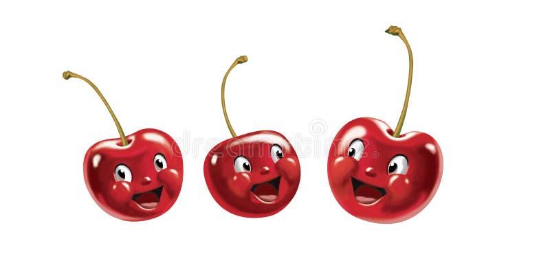 Smiling cherries royalty free stock photos