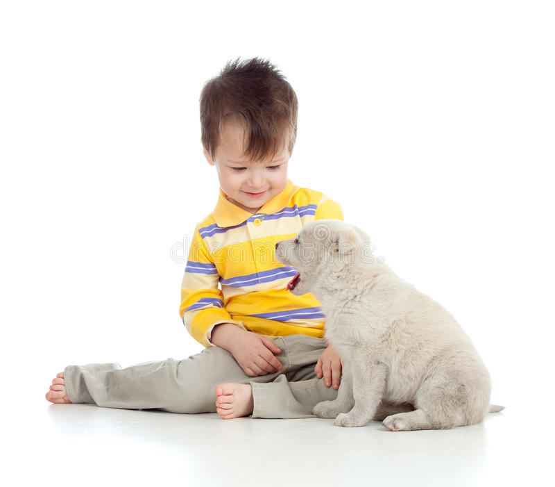 Smiling child playing with a puppy. Adorable boy playing with a puppy stock photos