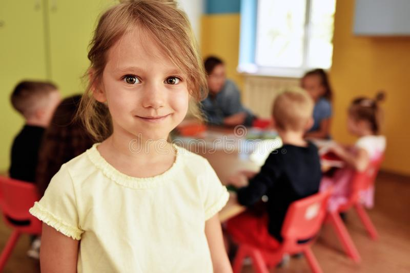 Smiling child in the preschool royalty free stock images