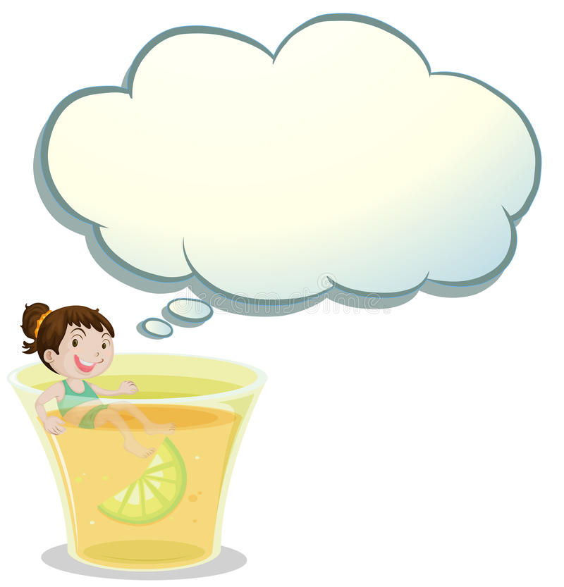 Download A Smiling Child Swimming On A Glass Of Lemonade Stock Illustration - Illustration: 34316139