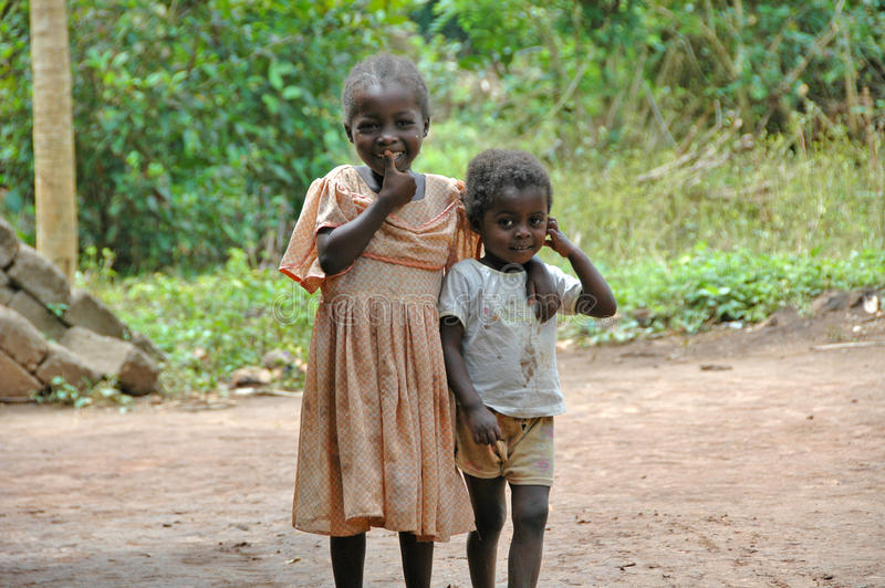 Smiling children in Africa stock photo