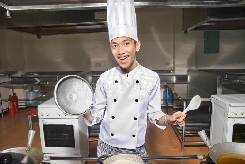 Download Smiling Chinese Cook In Kitchen Stock Image - Image of asian, food: 9726773