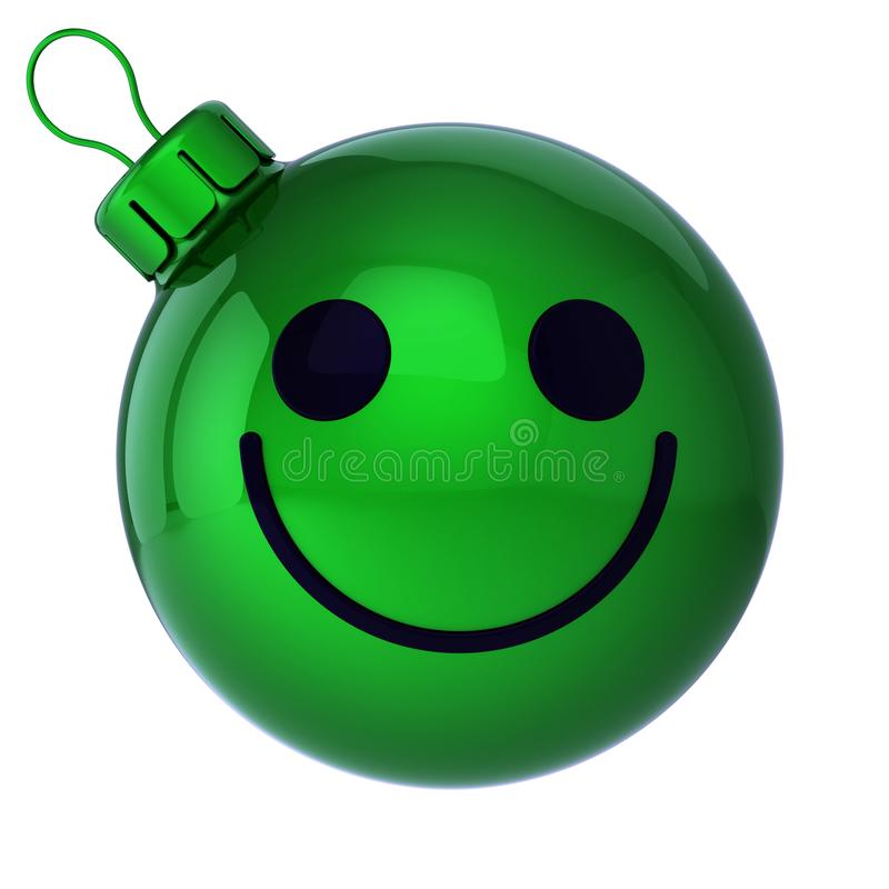 Smiling Christmas ball face emoticon green. New Year`s Eve bauble. Cartoon decoration cute. Merry Xmas cheerful funny person, laughing character adornment. 3d royalty free stock photo