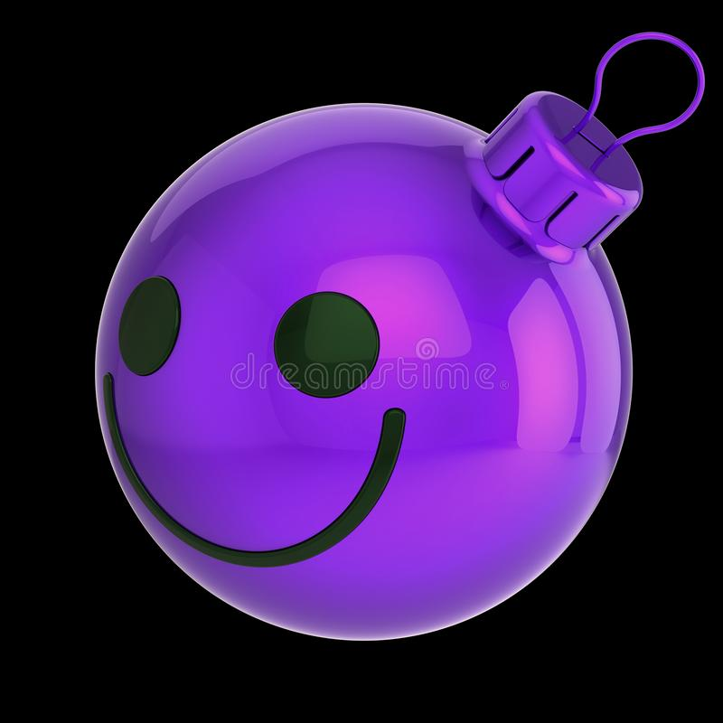 Smiling Christmas ball head face funny purple violet royalty free illustration