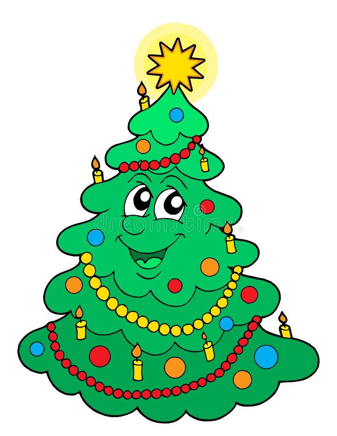 Smiling Christmas tree vector royalty free illustration