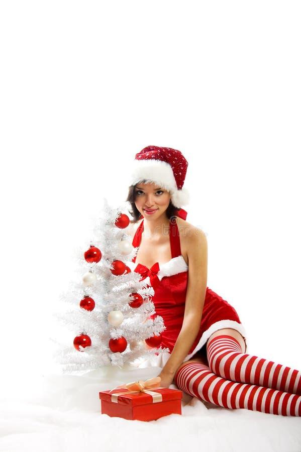 Smiling Christmas Woman Stock Photo