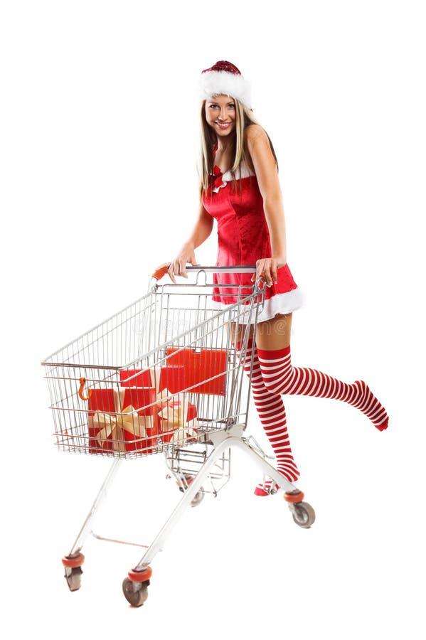 Smiling Christmas Woman Stock Photos