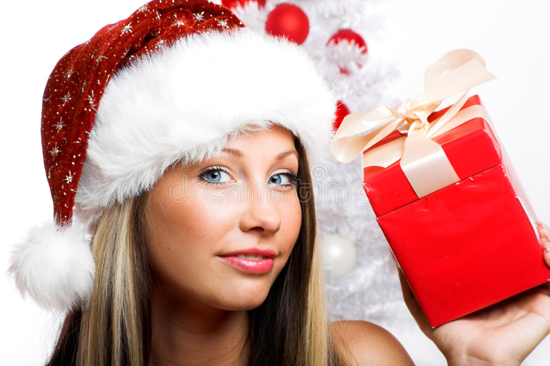 Download Smiling Christmas woman stock image. Image of female, isolated - 6945169