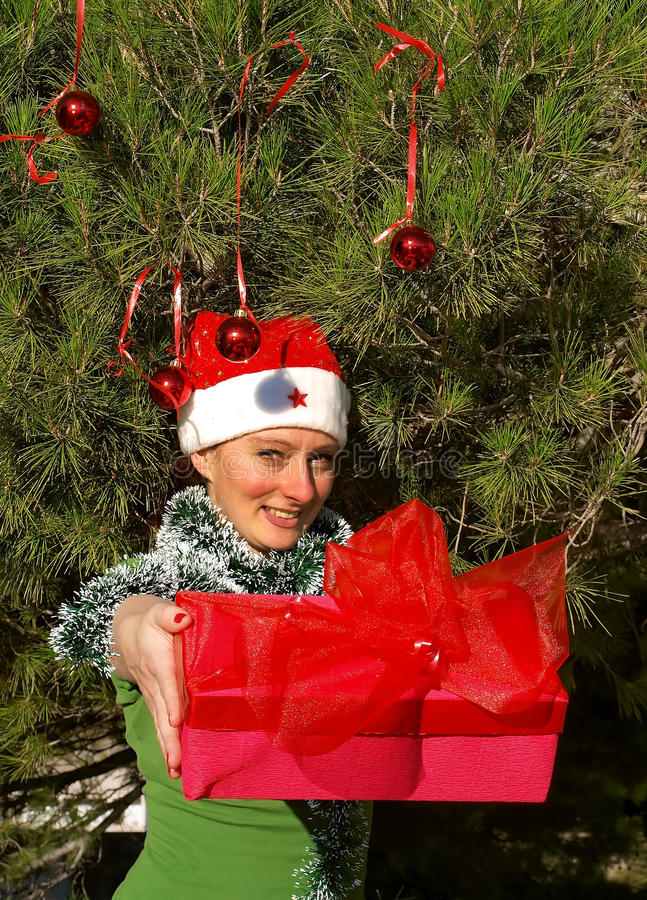 Smiling christmas woman giving a gift stock photography