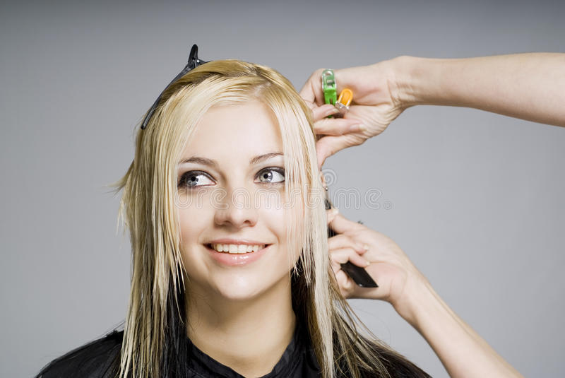 Smiling client while hairdresser cutting hair stock photo