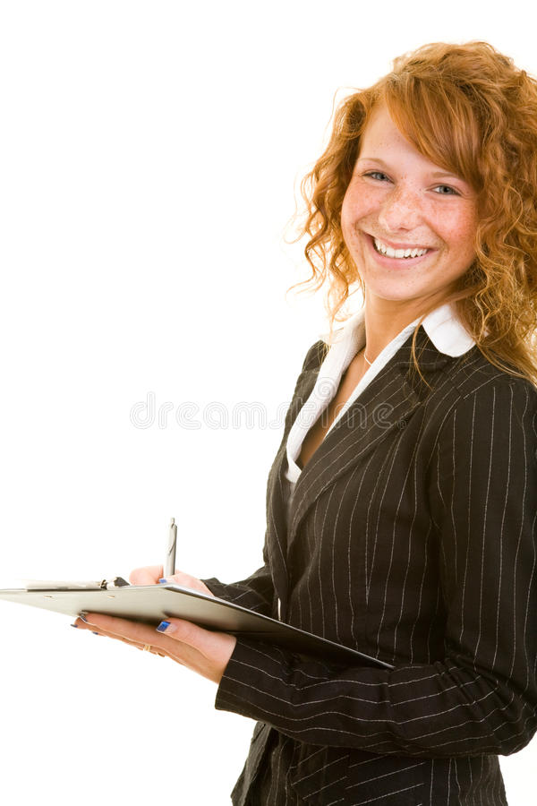 Smiling with clipboard stock images