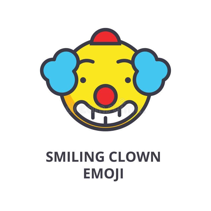 Smiling clown emoji vector line icon, sign, illustration on background, editable strokes vector illustration