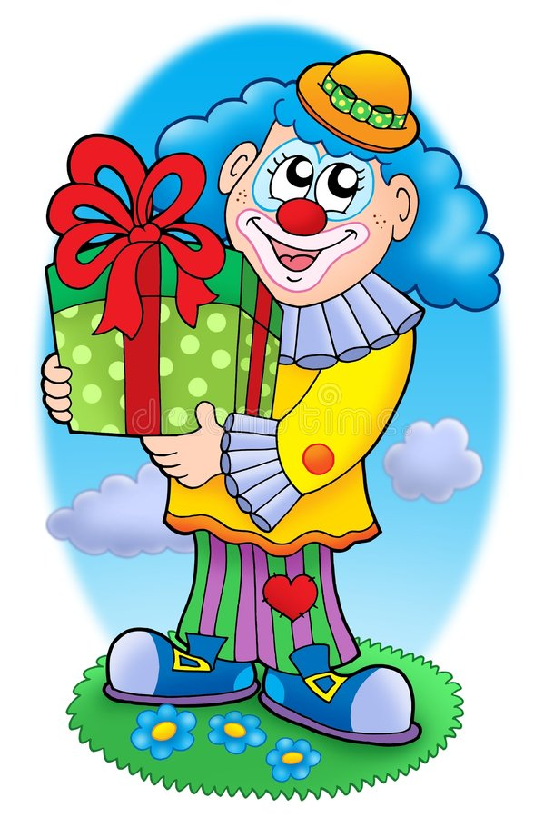 Download Smiling clown with gift stock illustration. Image of happy - 7554302