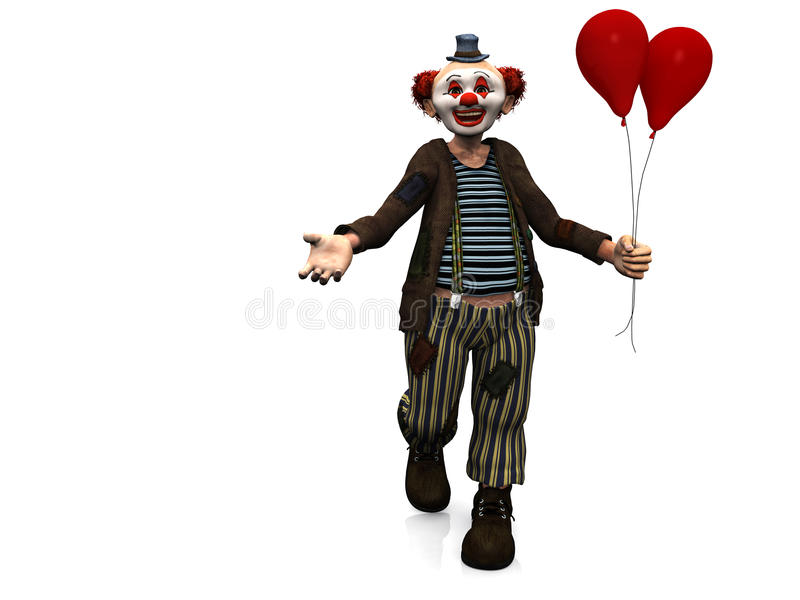 Smiling Clown With Red Balloons. Stock Image
