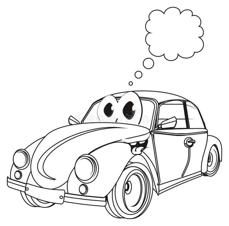 Happy coloring car with clean sign vector illustration