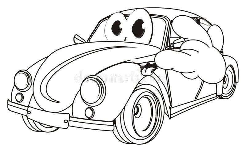 Smiling coloring car with gesture royalty free illustration