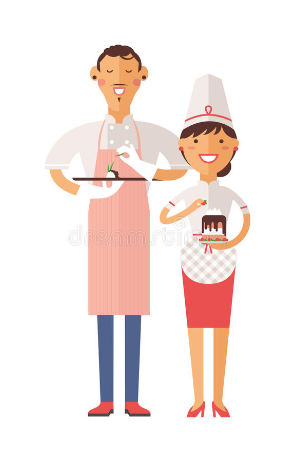 Smiling confectioners holding plate with cake. vector illustration