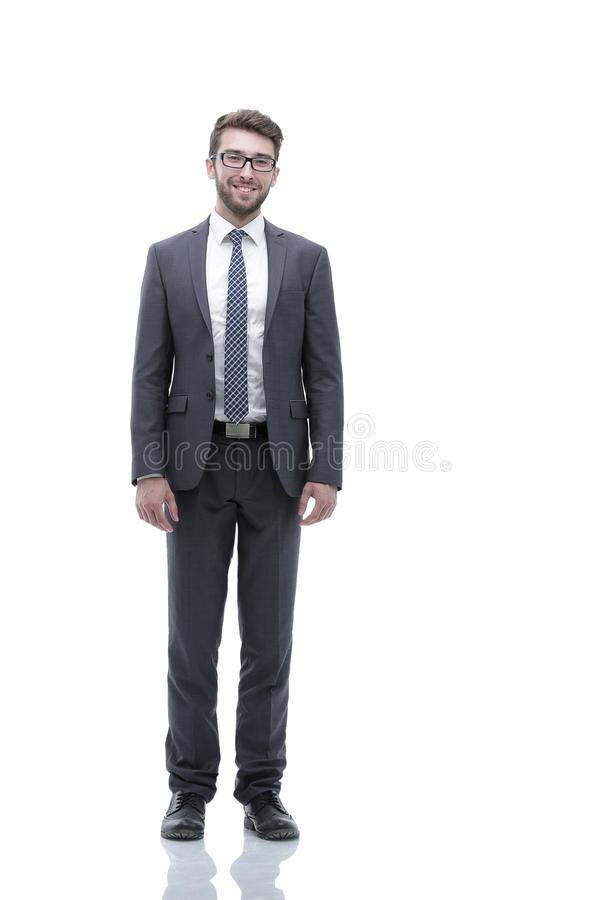 Smiling confident business man. Portrait in full growth royalty free stock photos