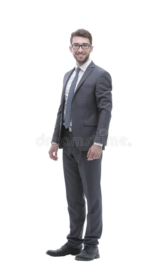 Smiling confident business man. Portrait in full growth stock photography
