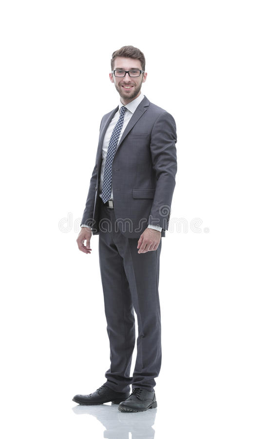 Smiling confident business man. Portrait in full growth. Confident business man. full-length portrait. photo with copy space stock image