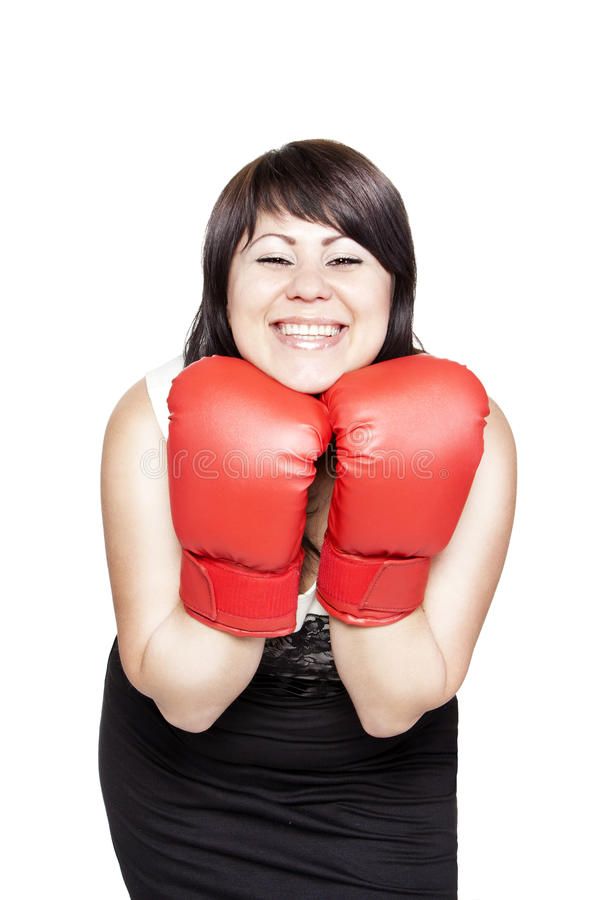 Download Smiling Confident Woman With Boxing Gloves Stock Image - Image of attractive, lady: 25093957