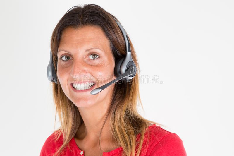 Confident woman operator secretary in call center office business for customers help stock photo