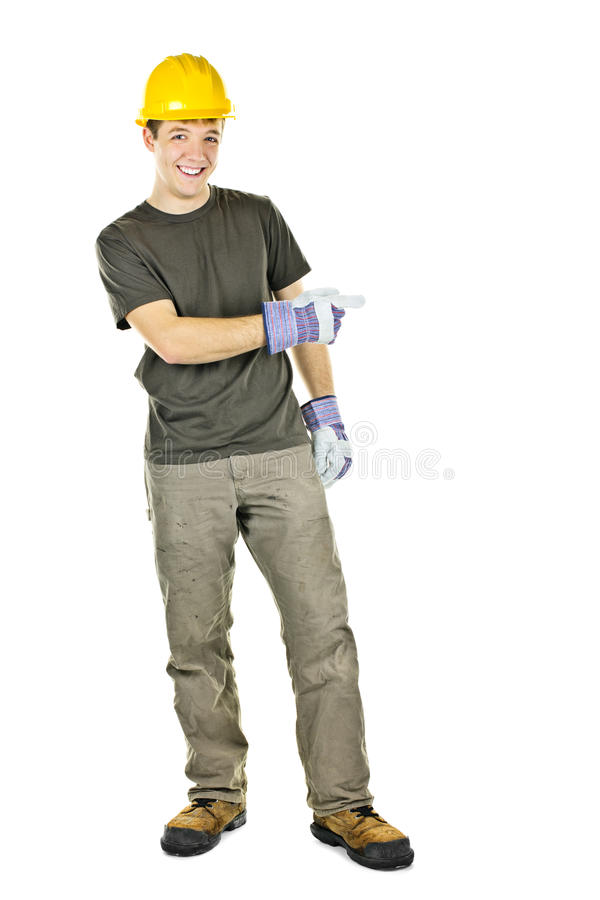 Download Smiling Construction Worker Pointing To The Side Stock Image - Image: 21120375