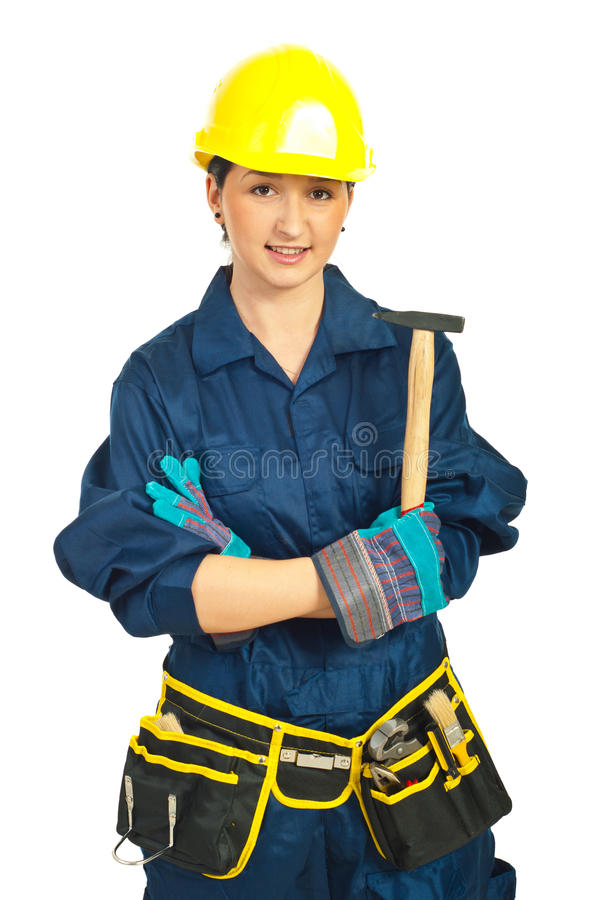 Download Smiling Constructor Worker Woman Stock Photo - Image: 18869152
