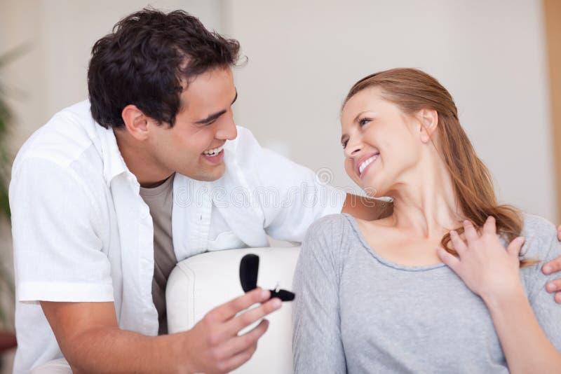 Smiling Couple Just Got Engaged Stock Image