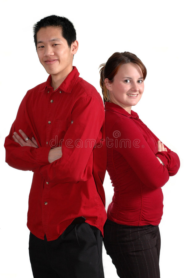 Smiling couple in red