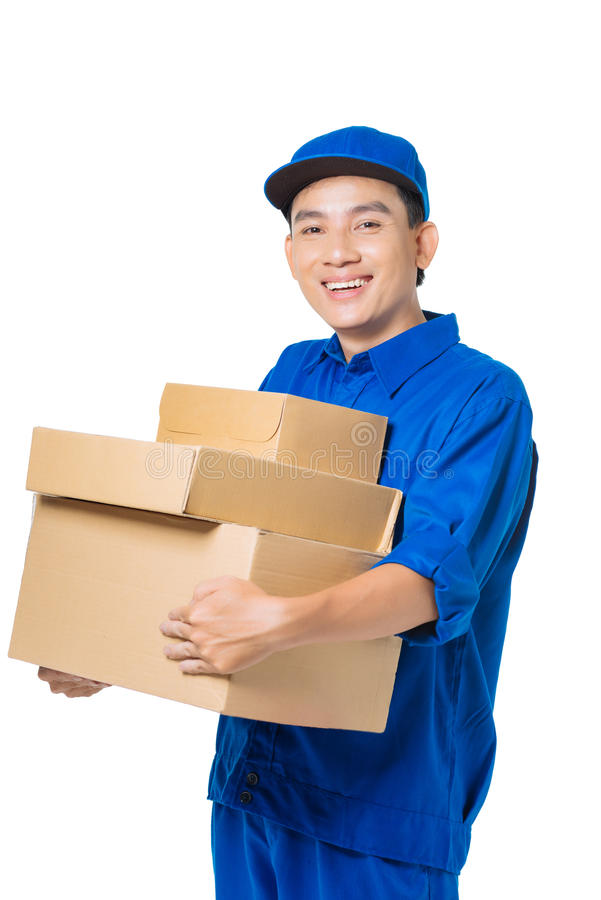 Smiling courier stock image