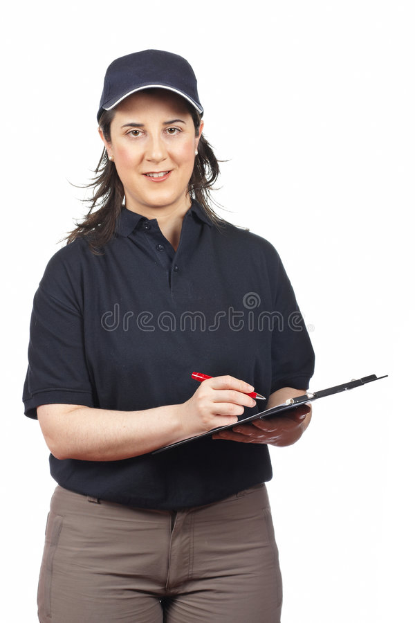 Smiling courier woman writing stock photography