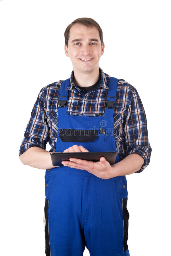 Download Smiling Craftsman With Digital Tablet Stock Image - Image: 30873045