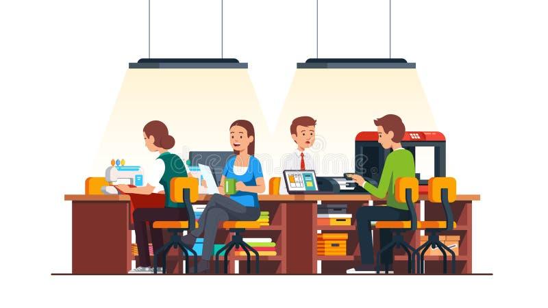 Craftsman people working in DIY workshop studio vector illustration