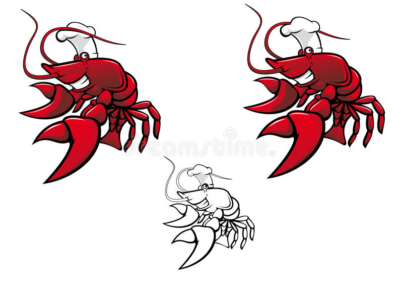 Smiling crayfish chef royalty free illustration