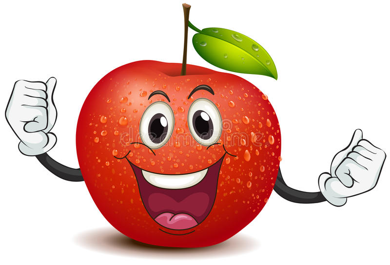A smiling crunchy apple. Illustration of a smiling crunchy apple on a white background stock illustration