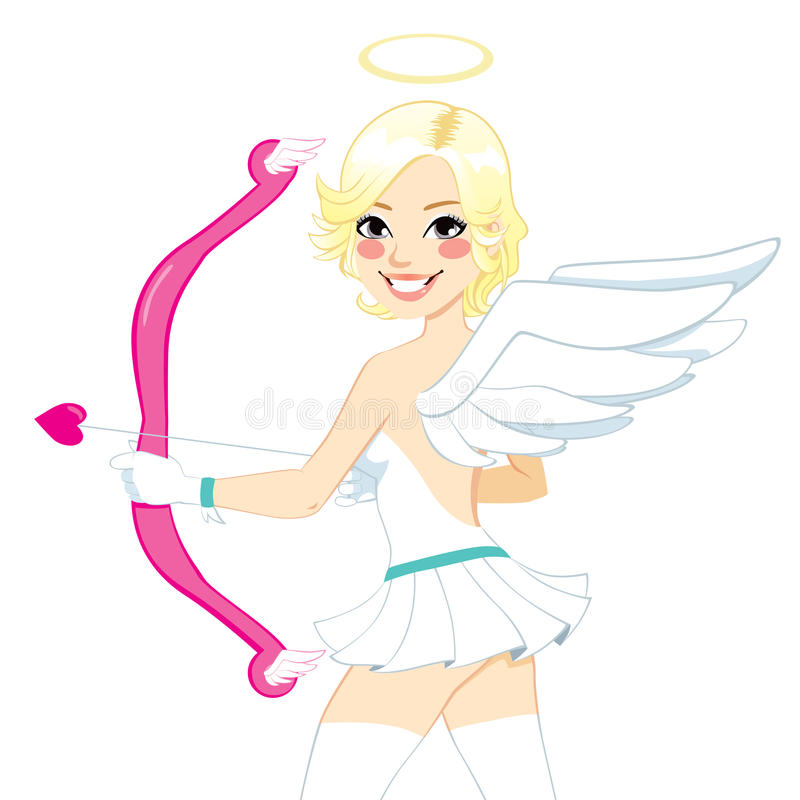 Smiling Cupid Angel Woman Stock Images