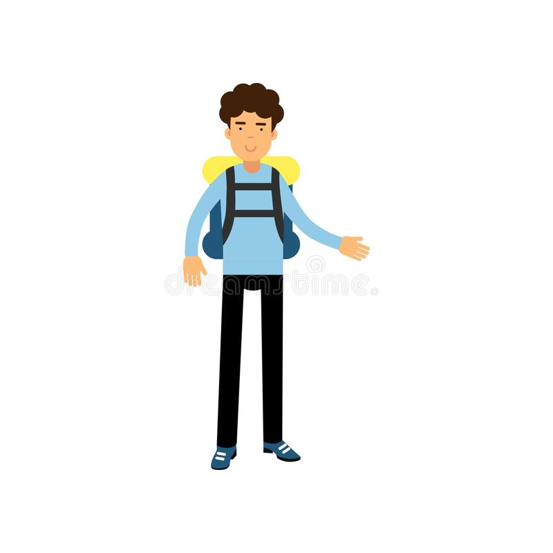 Flat vector illustration of smiling curly-haired boy teenager standing with backpack, travel and tourism concept royalty free illustration