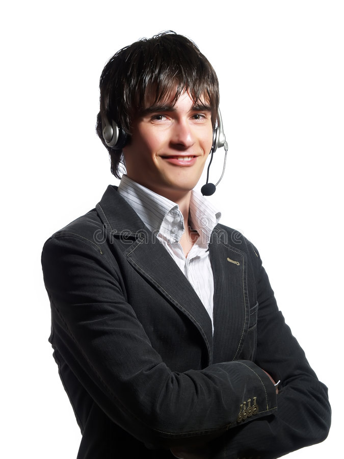 Smiling customer service representative man royalty free stock images